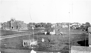 In 1911 CCI had been open for a year and the neighbourhood quickly sprang up around it.- image from Moose Jaw Public Lib
