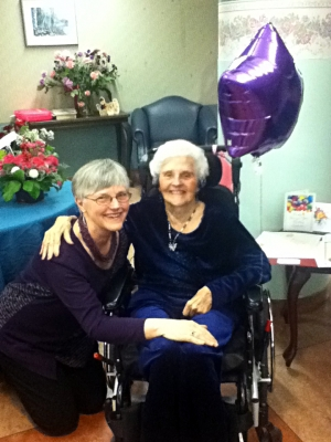 Margaret Farr (Innes) celebrating her 102nd Birthday with her Daughter, Maureen.