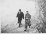 Mr Ballard entering school with another teacher (Mr. Davies ?) ca. 1950