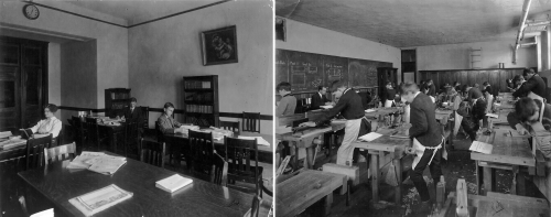 Library; Woodworking Class, Instructor Mr. W.W. Sniderca. 1914