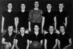 1959 BasketbabesF: Sharon Donelly, Mary Livingston, Karen Davies, Irene Holden, Sandra DevlinB: Geri Borus, Bev Thompson