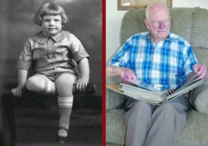 Lloyd Probert as a child before attending school at Central Collegiate, left, in this submitted photograph. At right, Ll
